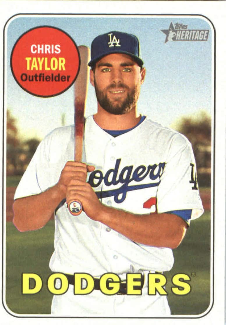 2018 Topps Heritage #366 Chris Taylor Los Angeles Dodgers Baseball Card