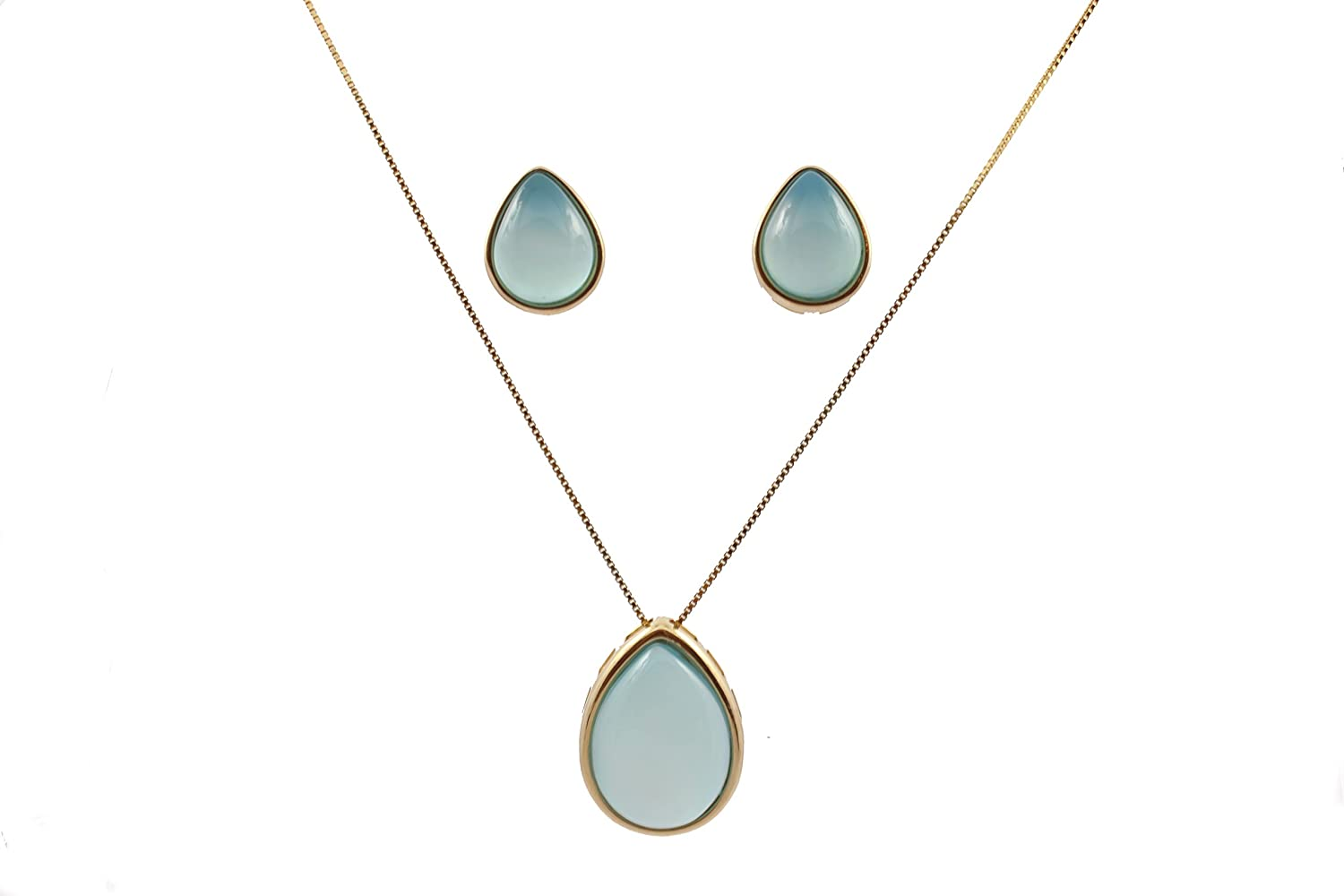 Adrianna Godoy Blue Sky Agate Earring and Necklace Set