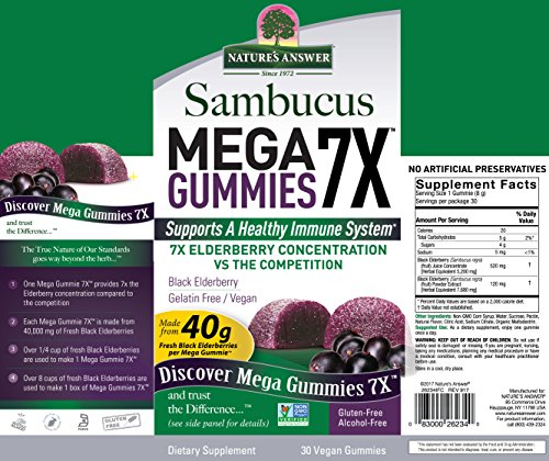 Nature's Answer Sambucus Mega Black Elderberry Gummies, 7X More Elderberry Concentration, 60 Count (2 Pack) by Nature's Answer (Image #2)