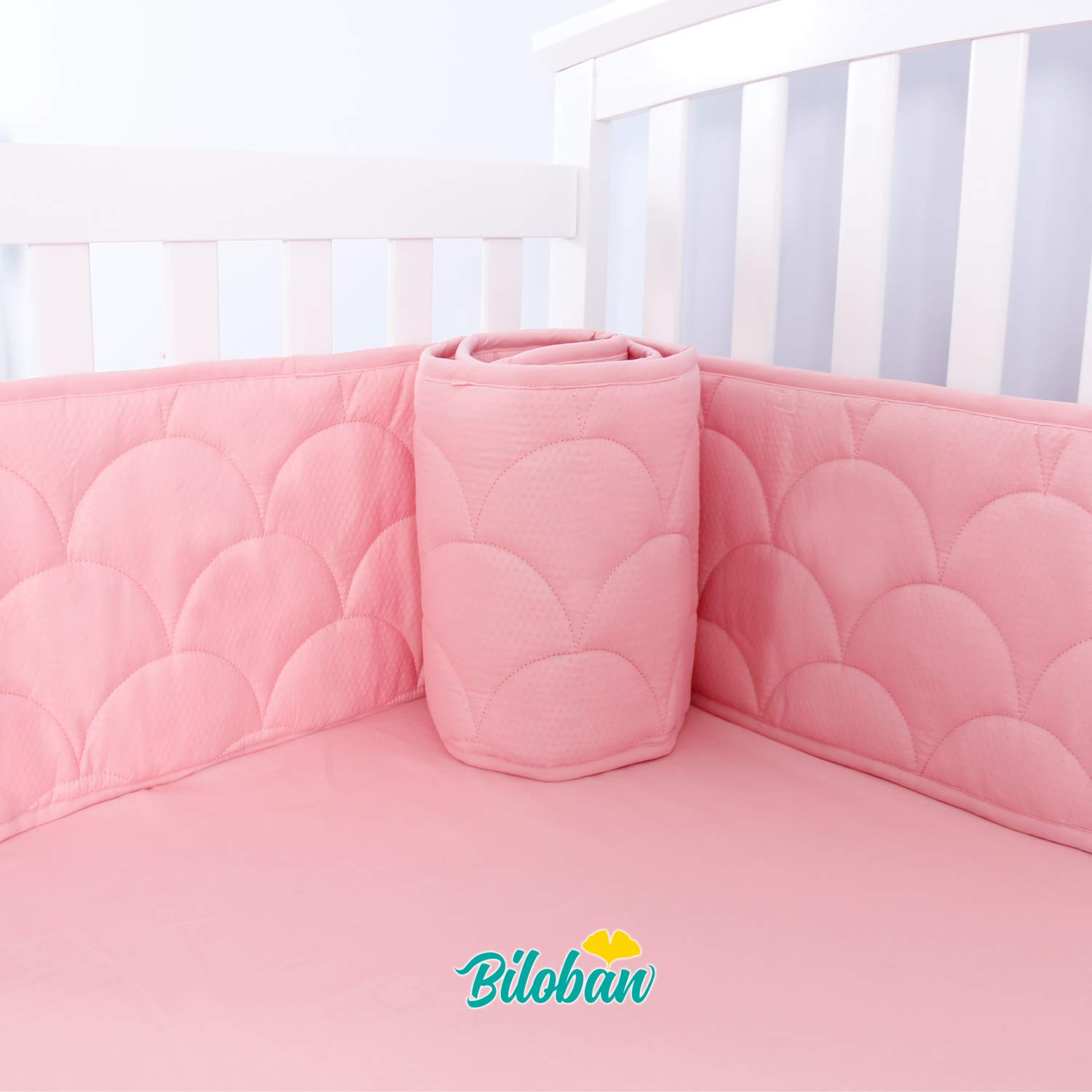 Crib Bumpers Pads for Baby, Breathable Machine Washable Baby Crib Bumper Liners for Girls, Safe & Soft Baby Crib Padding 4 Pieces/Set, Pink by Biloban