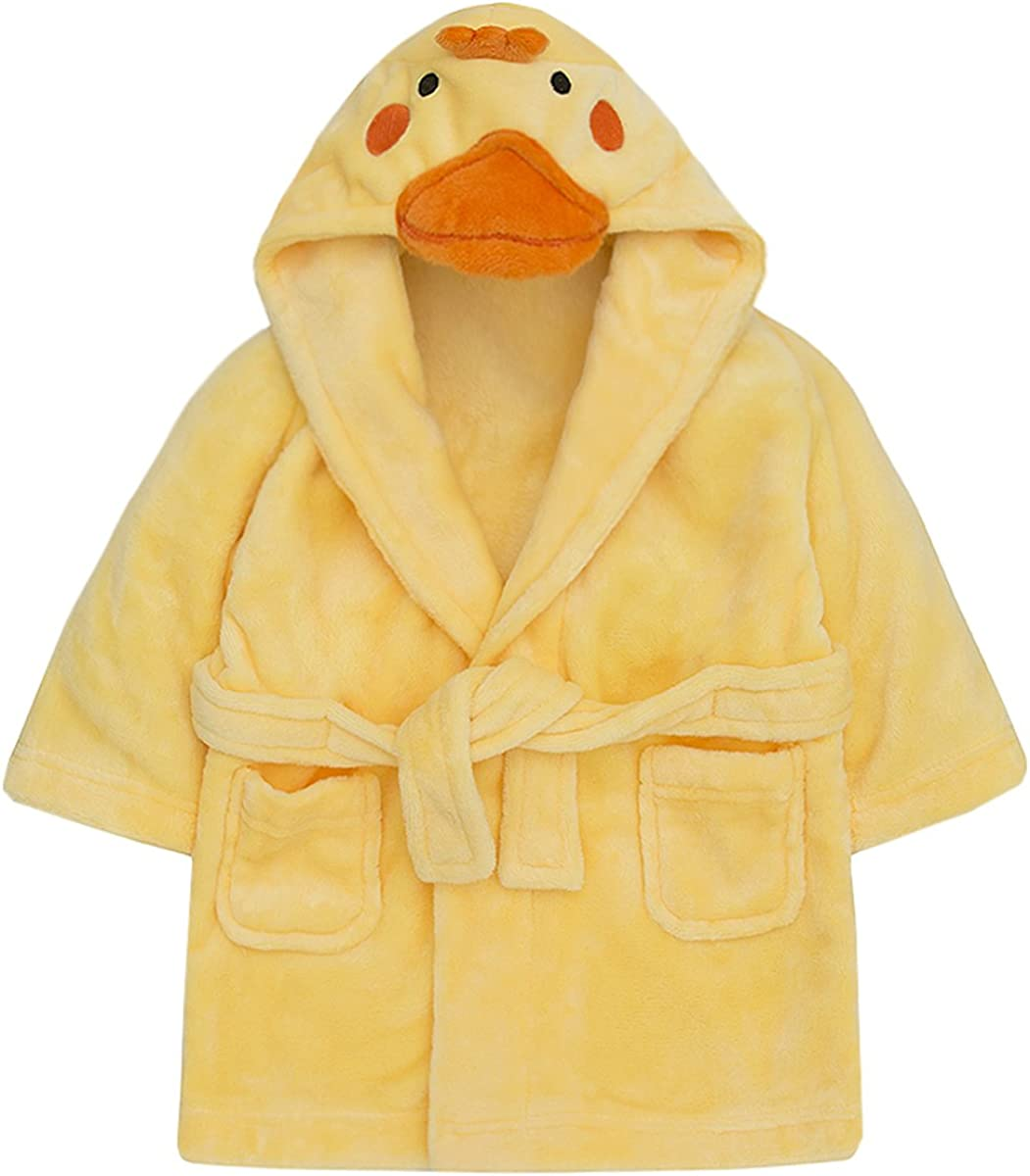 Childrens/Toddlers Soft Fleece Dressing Gown with Animal Hood ~ 6-24 Months (12-18 Months, Duck): Clothing