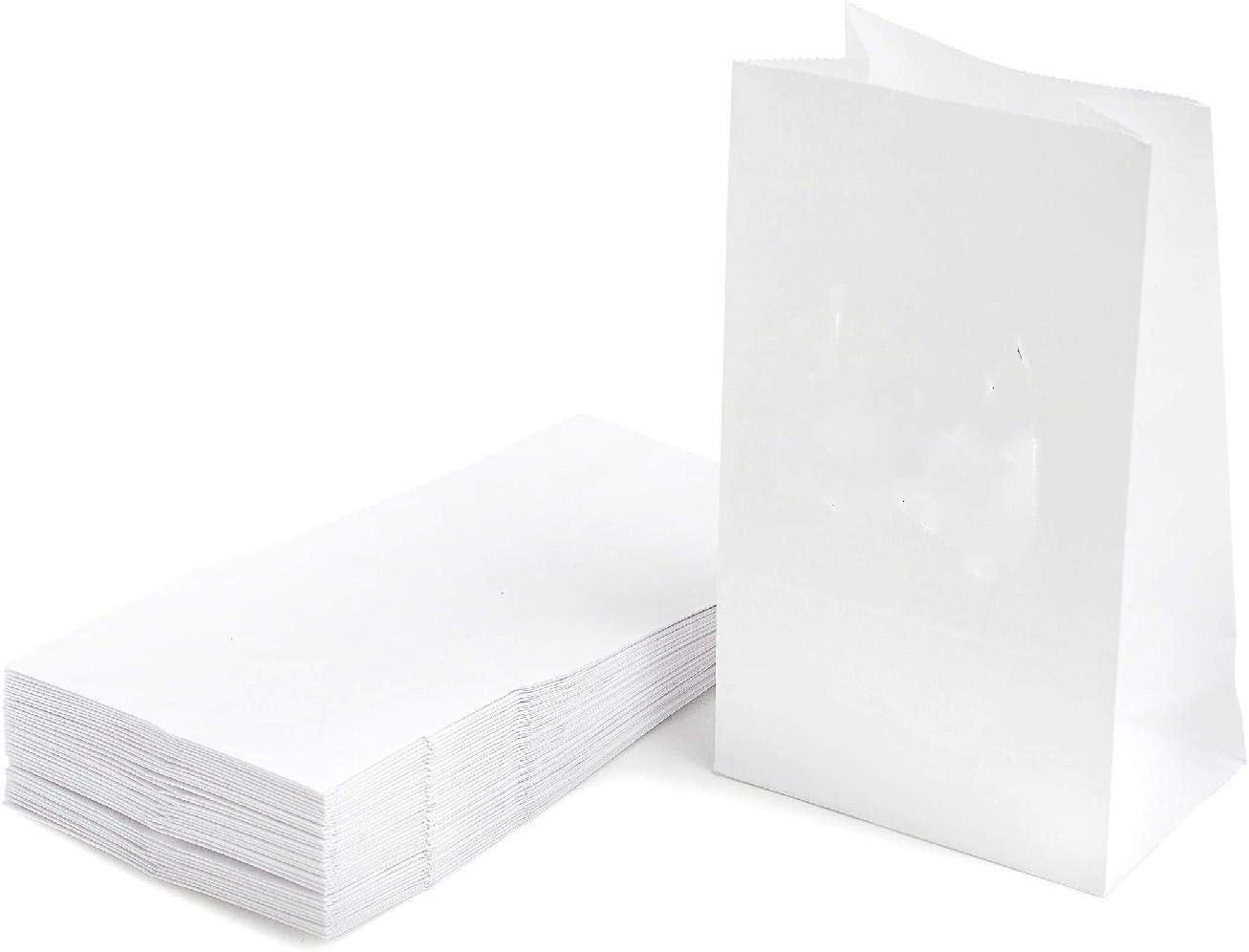 Depory 50 Pcs Sachet Courses Alimentaires en Papier Kraft Sac demballage Biod/égradable pour Bonbons en a Vrac Pochette Petits Cadeau Kit Patisserie Contenant drag/ées Bapteme Mariage Blanc