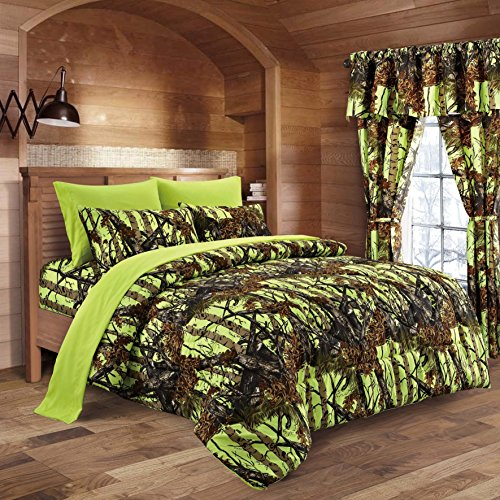 20 Lakes Neon Green Lime Camo Comforter, Sheet, Pillowcase Set (Full, Neon Green)
