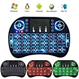 Auoker 2.4 G Mini Portable Wireless Keyboard with Touchpad Mouse Multi-media Handheld Android Keyboard for Windows, Android/Google/Smart TV, Linux, Mac OS, Colorful Backlit