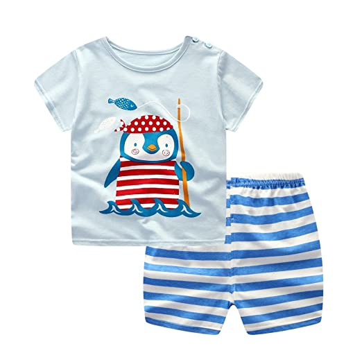 123d35bc Amazon.com: MiyaSudy Toddler Baby Boy Summer Outfits Sets Cartoon Short  Sleeve T-Shirt Tops + Striped Shorts Clothes: Clothing
