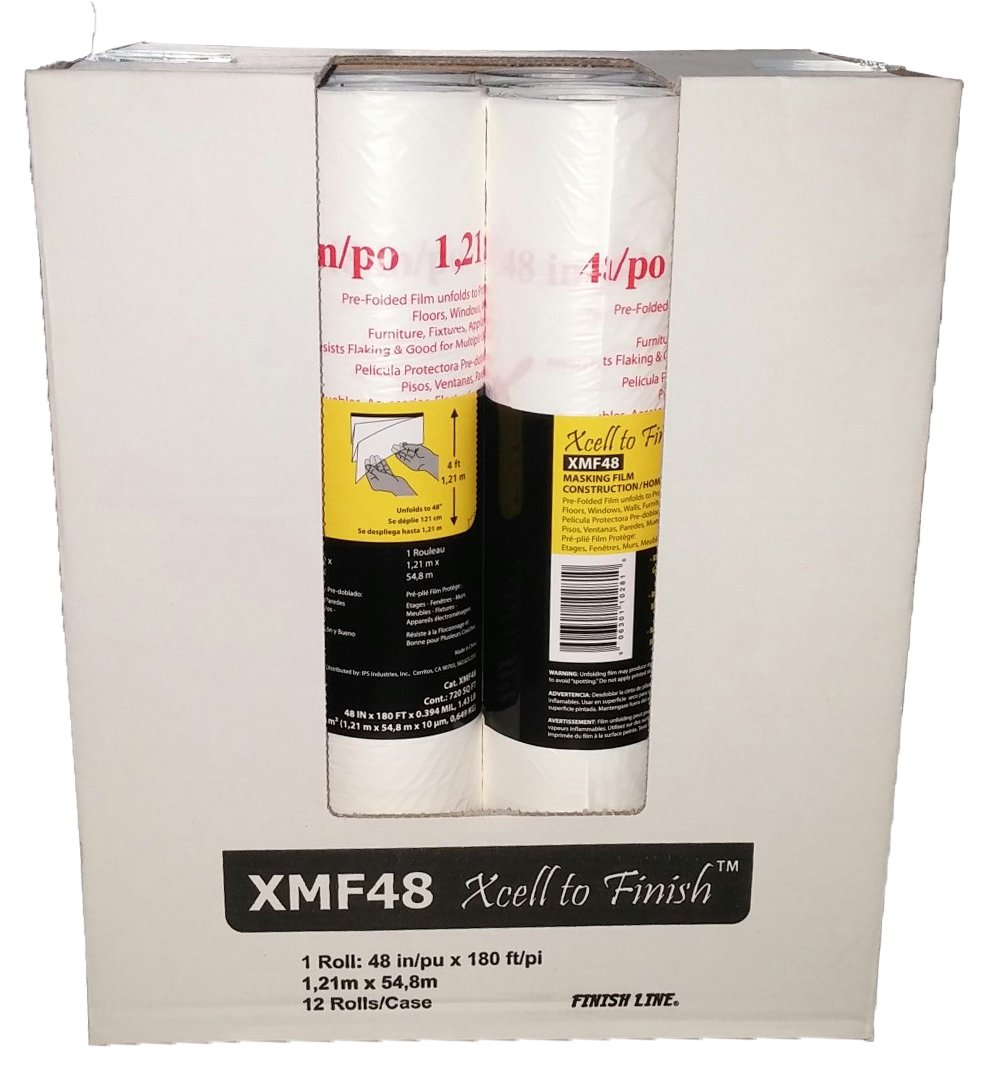 IPS Industries XMF48 Pre-Folded Masking Film Roll, 180' Length x 48'' Width (Case of 12)