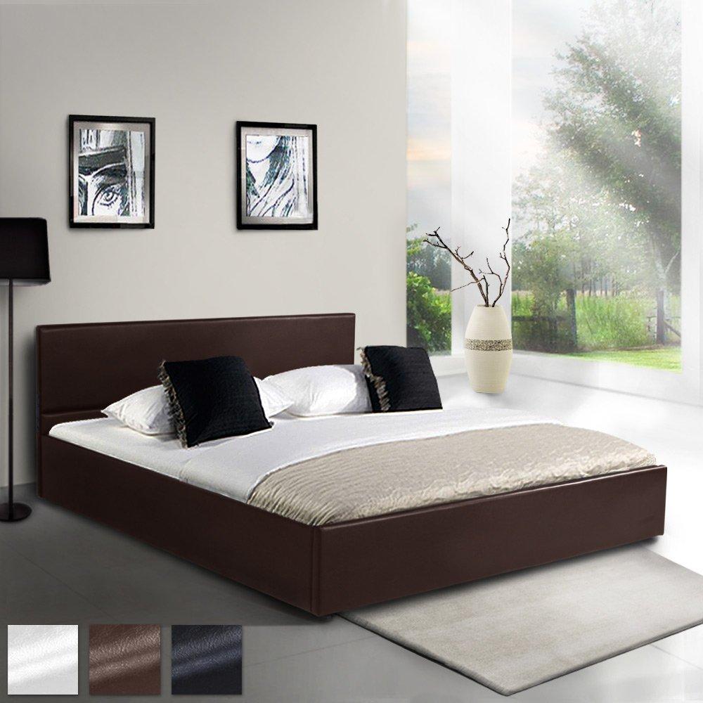 MIADOMODO Kunstlederbett 120x200cm mit integriertem Lattenrost und Bettkasten in 3