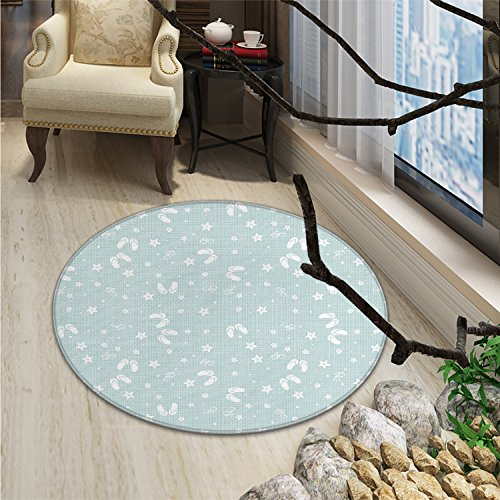 Aqua Round Rugs Beach Theme Decor Sea Shells Starfishes Flip Flops Glasses Summer Holiday ImageOriental Floor and Carpets Seafoam and White ()