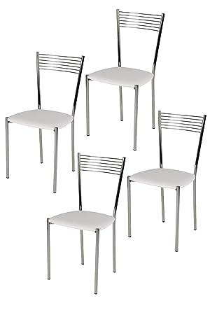 Set de 4 sillas para cocina y comedor - Estructura en acero cromado ...