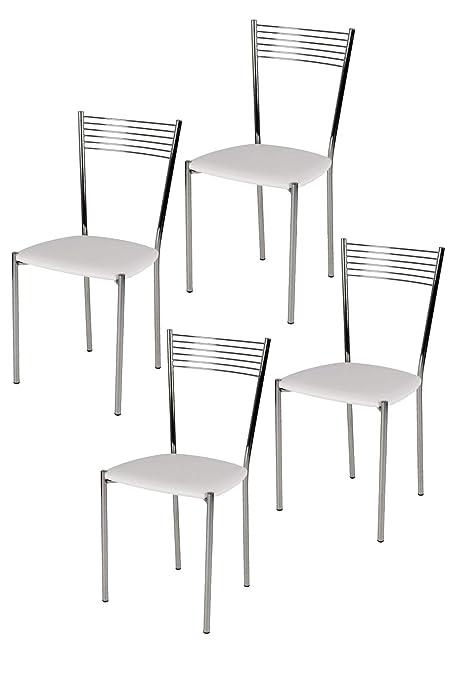 Tommychairs Set 4 sedie Moderne e di Design Elegance per Cucina Bar salotti  e Sala da Pranzo, con Robusta Struttura in Acciaio Cromato e Seduta ...
