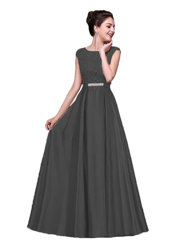 476bcb42d9c vimans Elegant Long Scoop Satin Wedding Bridesmaid Prom Dresses with Lace  D583 at Amazon Women s Clothing store