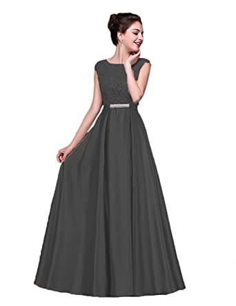 Vimans Womens Scoop-Neck Solid Sleeveless Long Gown Dress, Black, ...