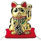 常滑焼 M2542 招き猫 黄金小判猫(千万両) 高33㎝ 貯金箱 10号
