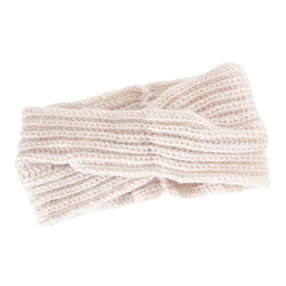Seamount Knitting Wool Corss Handmade Headband,Women Hair Ball Winter Warm Stretch Headwear Accessories (Beige)