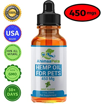 Hemp Oil for Dogs Cats and Pets (450mg) - 100% Organic Full Spectrum  Extract for Anxiety, Stress Relief, Arthritis Pain, Hip & Joint Discomfort  - Made
