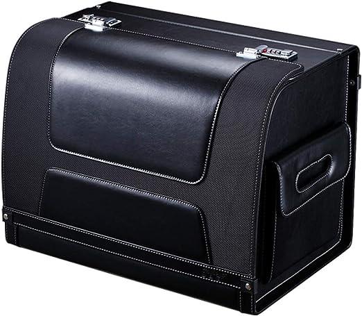 Almacenamiento Cajas de coches Caja De Almacenamiento De Coche Bolsa De Almacenamiento De Maletero Universal Organizador Negro De Propietario De Tronco De Cuero Con Cerradura De PU Tronco y caja de al: