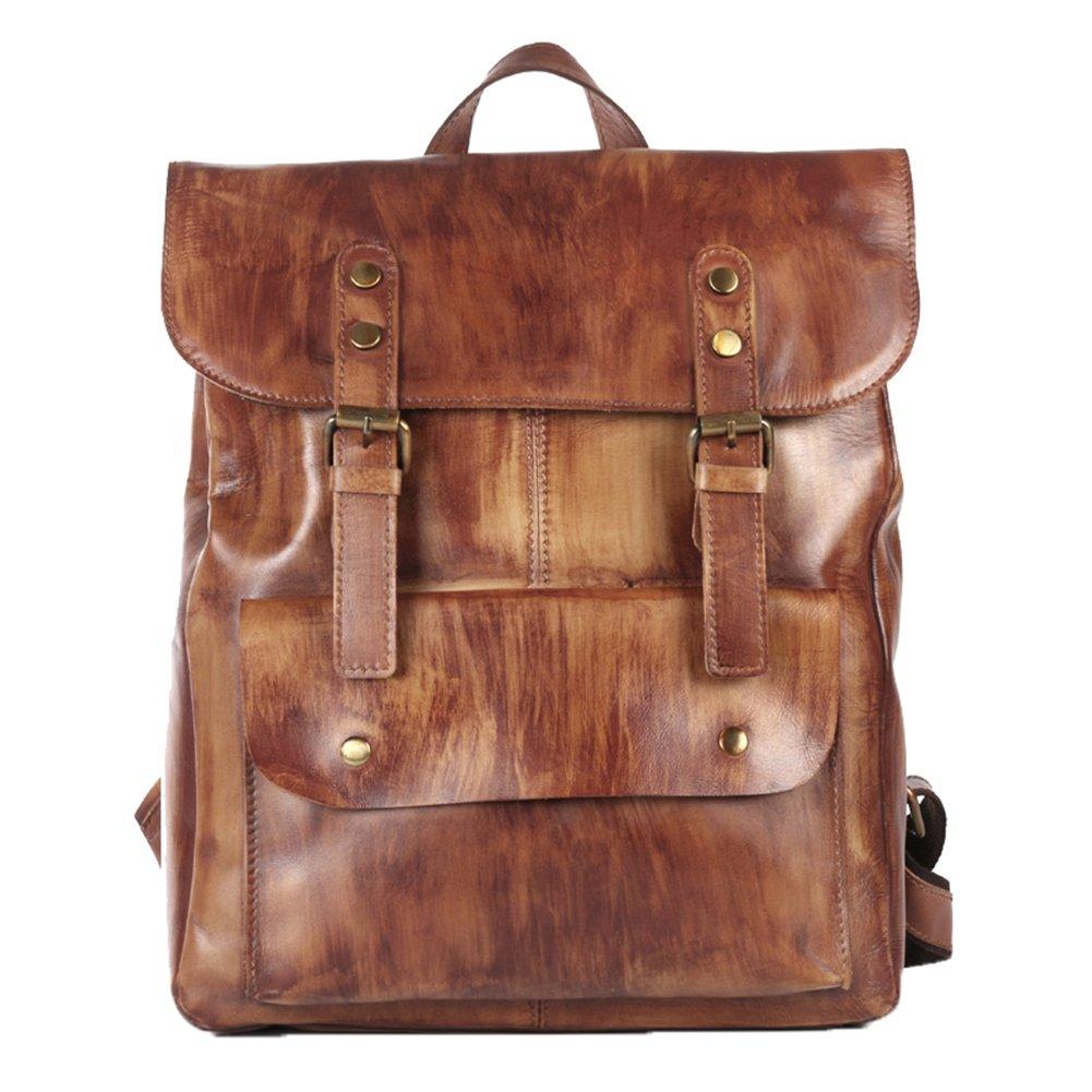 Genda 2Archer Men Best Cowhide Travel Backpack Office Daypack Fits 14'' Laptop