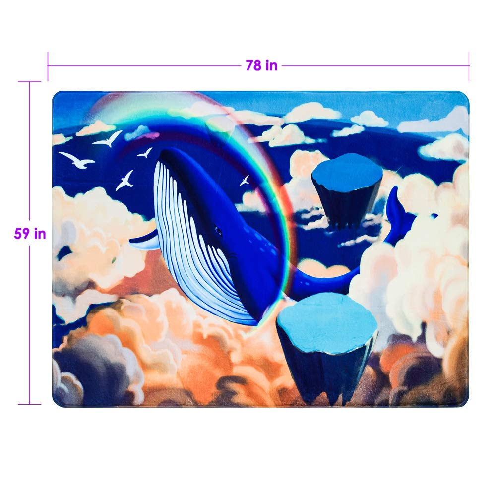 Cloudyfocus Baby Crawling Mat 6.5/' x 5/' 3D Nursery Decor Rug for Kids Play Whale in The Wonderland Non Slip Shaggy Area Rug Soft Baby Gym Carpet Sleep Blanket Baby Shower Gift
