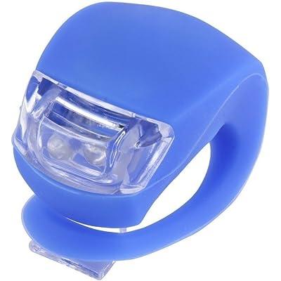 REY Luz 2 LED Delantera de Silicona para Bicicleta, Azul, Faro para Visibilidad en Ciclismo