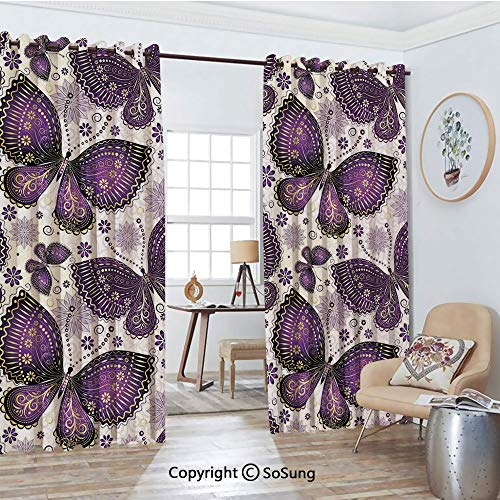 (Blackout Window Curtains,Ethnic Asian Butterflies with Paisley Motif on Wings Flowers Art Print Decorative Living Room Bedroom Thermal Insulated Window Drapes 2 Panel Set, 54