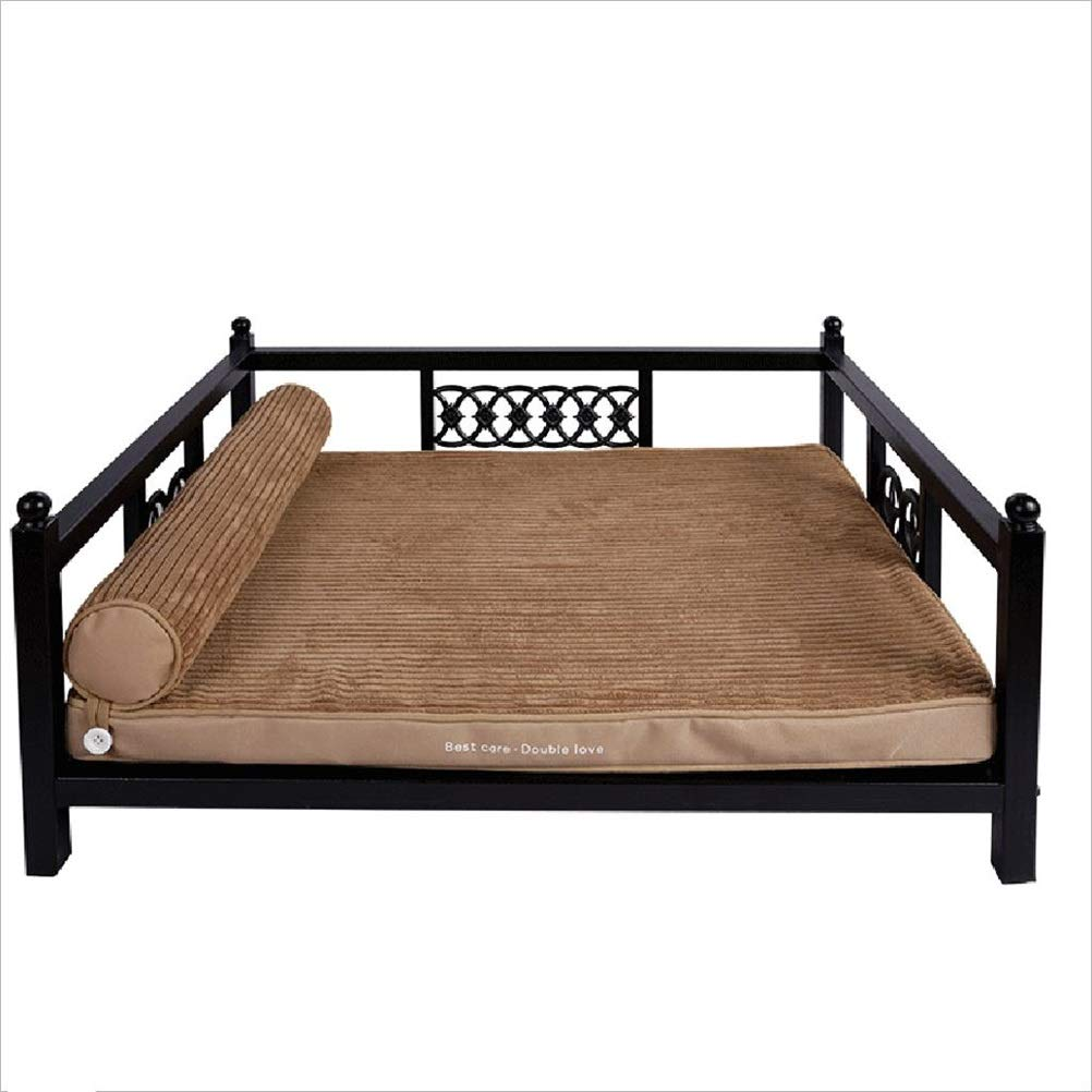 A L A L Soft and Comfortable Pet Bed pet pad Puppy Iron Bed Large Dog Bed Washable bite-Resistant Bed Sofa Increase Height (Full Washable) (color   A, Size   L)
