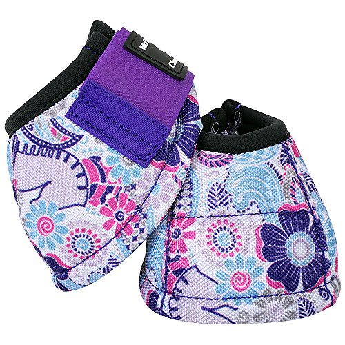 Classic Equine Dyno No-Turn Overreach Bell Boots (Purple Posey, Medium) (Overreach Bell Boot)
