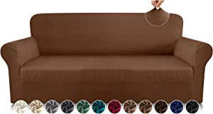 Luxurlife Premium Thickened Sofa Covers for 3 Cushion Couch 1-Piece High Stretch Couch Cover Sofa Slipcover for Pets Furniture Protector with Unique Checkered Pattern Spandex Fabric(Large, Coffee)