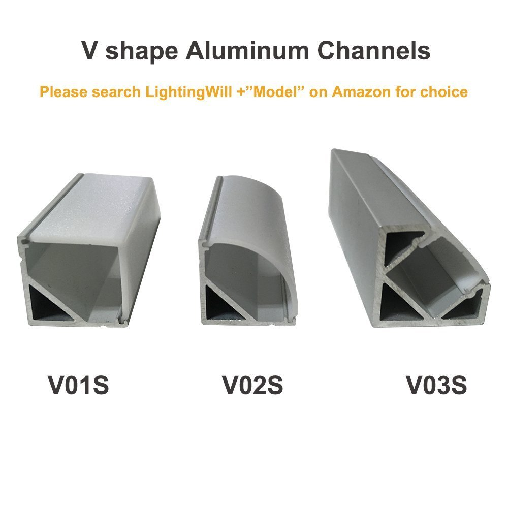 LightingWill 20-Pack V-Shape LED Aluminum Channel 6.6ft/2M Anodized Silver Corner Mount Extrusion for <12mm width SMD3528 5050 LED Strips with Vertical Cover, End Caps and Mounting Clips V01S2M20 by LightingWill (Image #5)