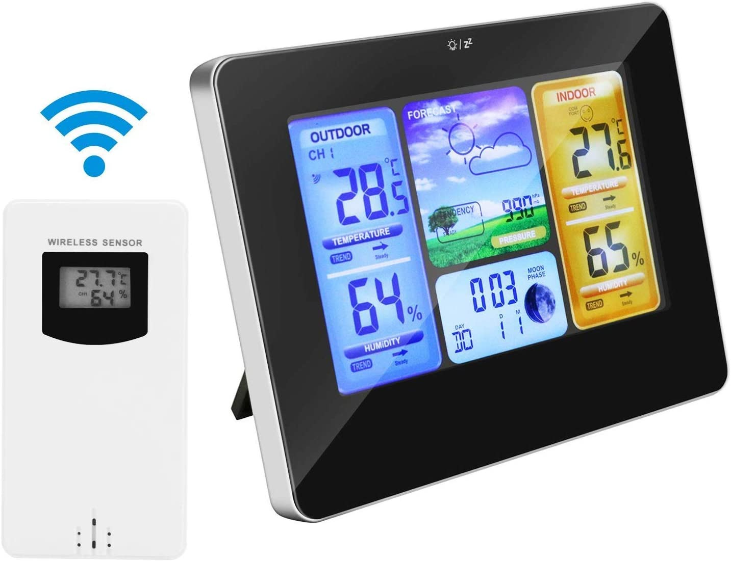 Allnice Weather Stations Wireless Indoor Outdoor with Alert and Temperature//Humidity//Barometric//Forecast//Moon Phase//Alarm Clock LCD Digital Weather Station with Outdoor Sensor for Home Office