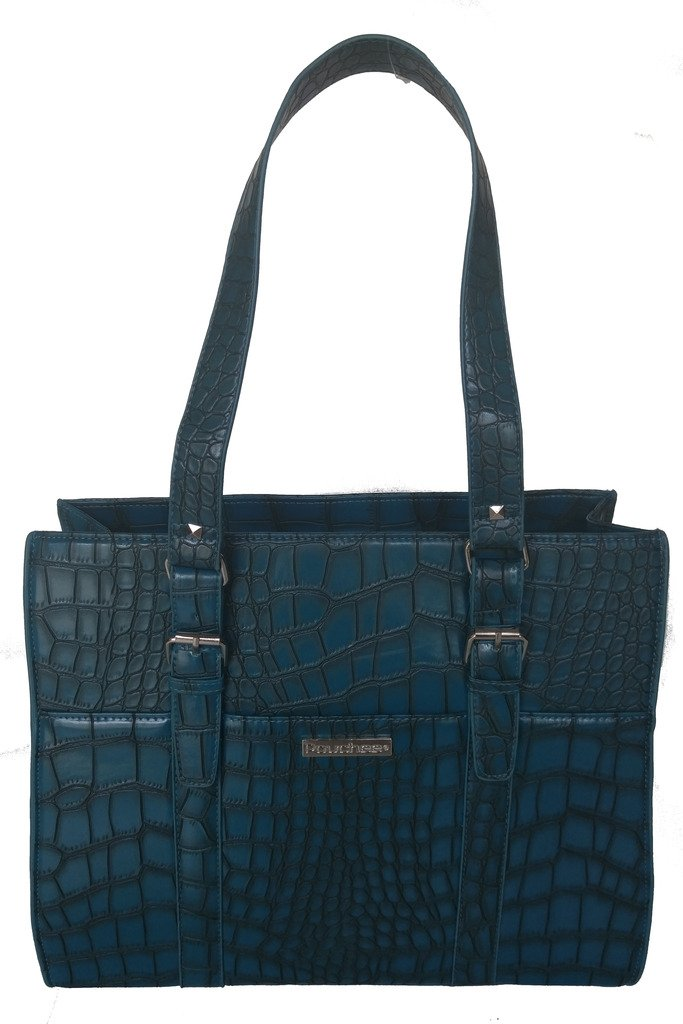 Pouchee Melbourne Tabee Women's Tote Bag: Teal Croco