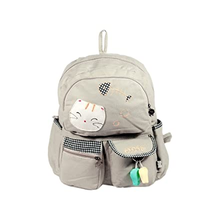 c793883074  Cat   Fish  100% Cotton Fabric Art School Backpack   Outdoor Backpack