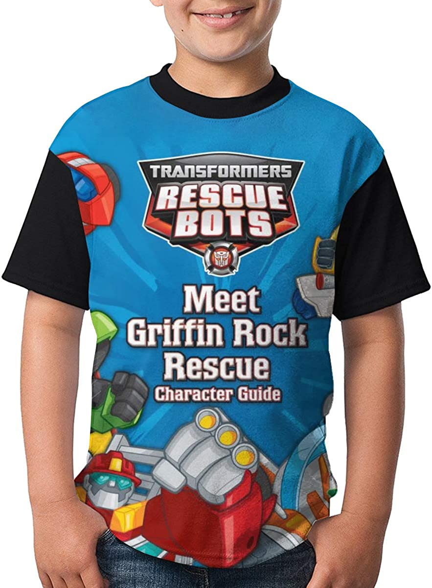 Kid//Youth Tra-NSF-Orme-rs Res-cUE Bo-TS T-Shirts 3D Print Short Sleeve Graphics Tees for Boys Girls