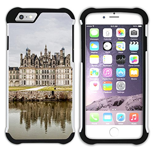 Chambord King - Graphic4You Chambord Castle France Postcard Design Armor Protector Tough Rugged Durable Hybrid Soft Hard Case Cover for Apple iPhone 7/iPhone 8