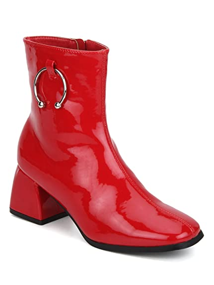 be07367b7da TRUFFLE COLLECTION Red Patent Round Buckle Block Heel Ankle Boots ...