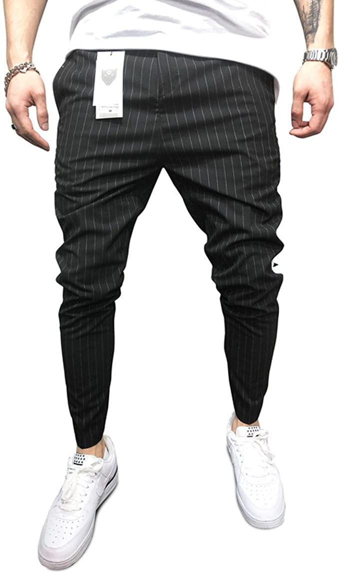 Mens Ankle Pants Streetwear Side Stripes Checkered Trousers Casual Slim Fit Street Fashion Gray M