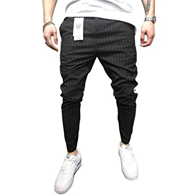 Monocloth Casual Black Ankle Pants Men Streetwear Striped Slim Fit
