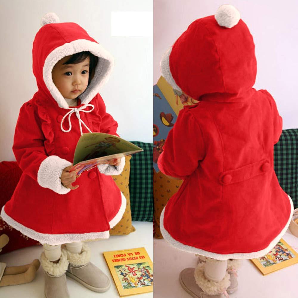 a7f3b1b82 Amazon.com  Baby Girls Kids Christmas Hooded Fleece Coat Cuekondy ...
