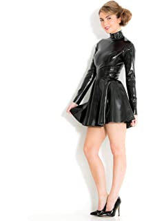 088a66f5924 Honour Women s Skater Mini Dress in Black Rubber Latex with High Neck