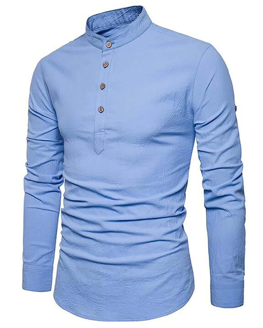 Bravepe Men Casual Cotton Linen Stand Collar Long-Sleeve Solid Buttons T-Shirt