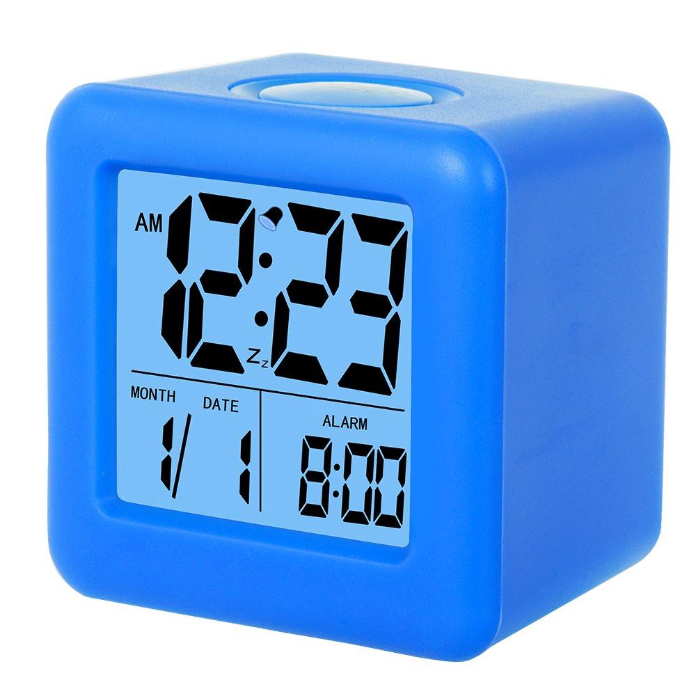 SkyNature Clocks for Kids,Digital Alarm Clocks,12/24 Hours,Large Numbers LED Display with Nightlight, Alarm, Snooze,Calendar for Children's Bedrooms,Blue Clocks 4M-WFOL-W1TB