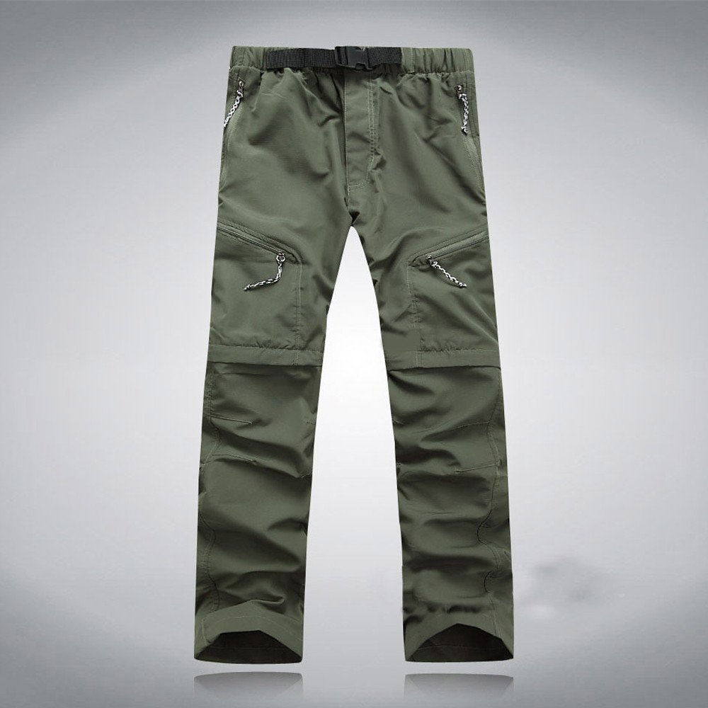 Corriee Mens Summer Pants Quick Dry Mens Athletic Thin Waterproof Outdoor Trousers Detachable Pant