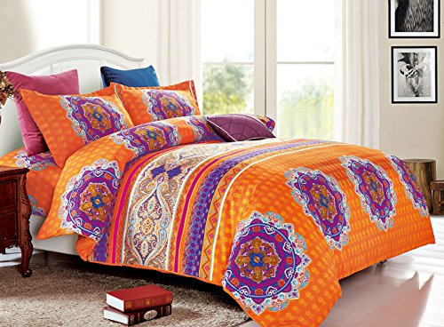 Bohemian Duvet Cover Set, Orange Boho chic Mandala Medallion Printed Soft Microfiber Bedding, with Zipper Closure (3pcs, Queen Size)