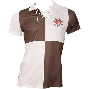 FC St. Pauli de fútbol - Camiseta Retro los Noventa años con Logotipo del Equipo y Texto en la Espalda - Marrón/Blanco: Amazon.es: Deportes y aire libre