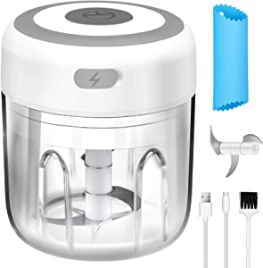 Mini Electric Garlic Chopper, MSDEAR 8.8Oz Wireless Portable Food Processor Garlic Mincer Grinder, Small Food Slicer for Fruits Vegetable Onion Nuts Meat Chili