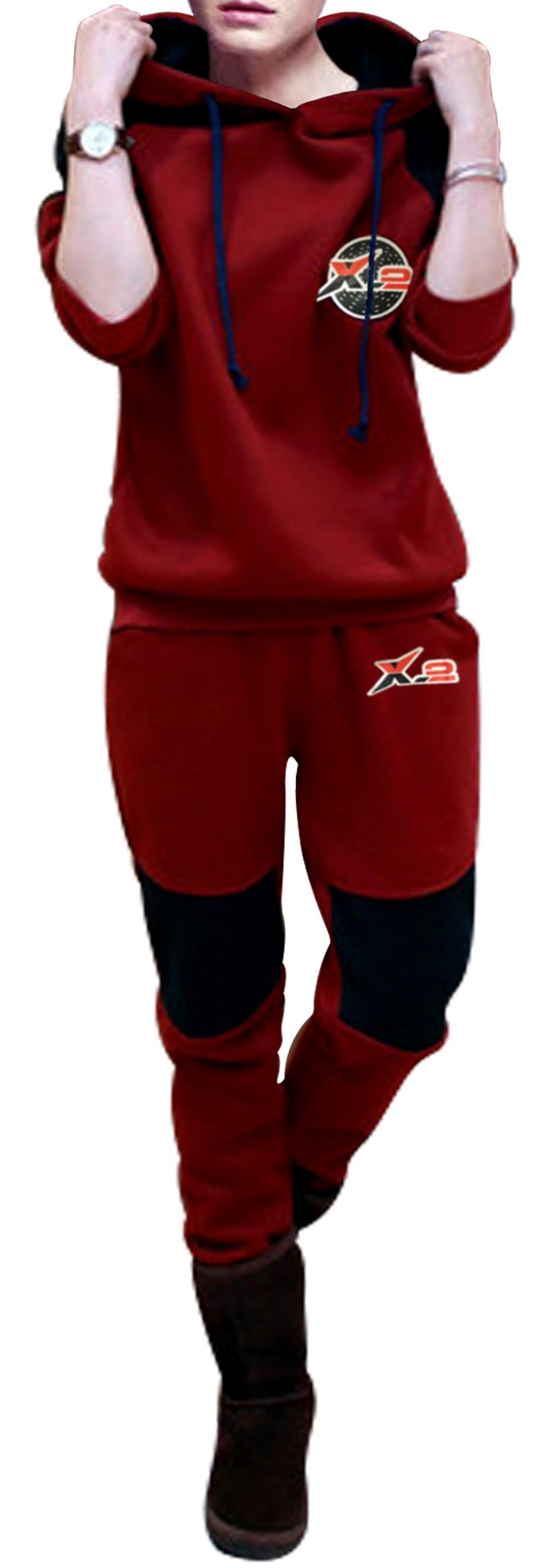 X-2 Women Athletic Fleece Tracksuit Sweatsuit Activewear Navy-Panel Maroon XXL by X-2 (Image #1)