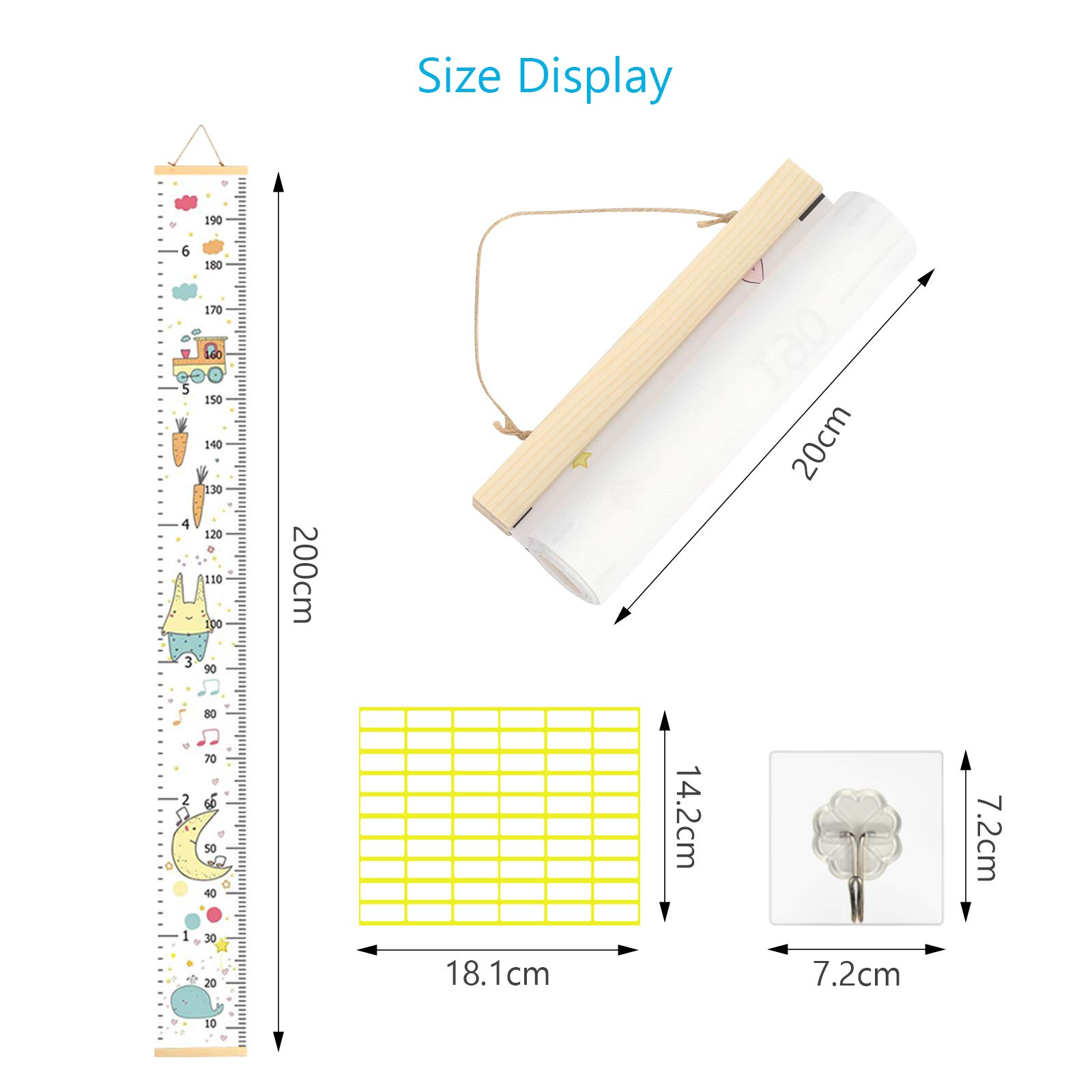 TAZEMAT Height Chart Removable Hanging Growth Chart for Kids Girls Boys Roll-up Children Height Record Chart Canvas Portable Waterproof Baby Growth Measurement Ruler 200 x 20 cm