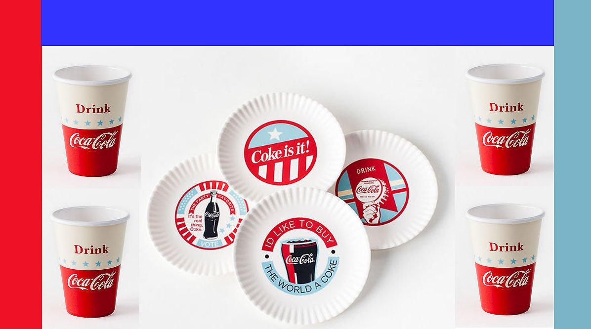 Coca Cola Americana Retro 8 Piece Melamine Plates and Cups Picnic Party