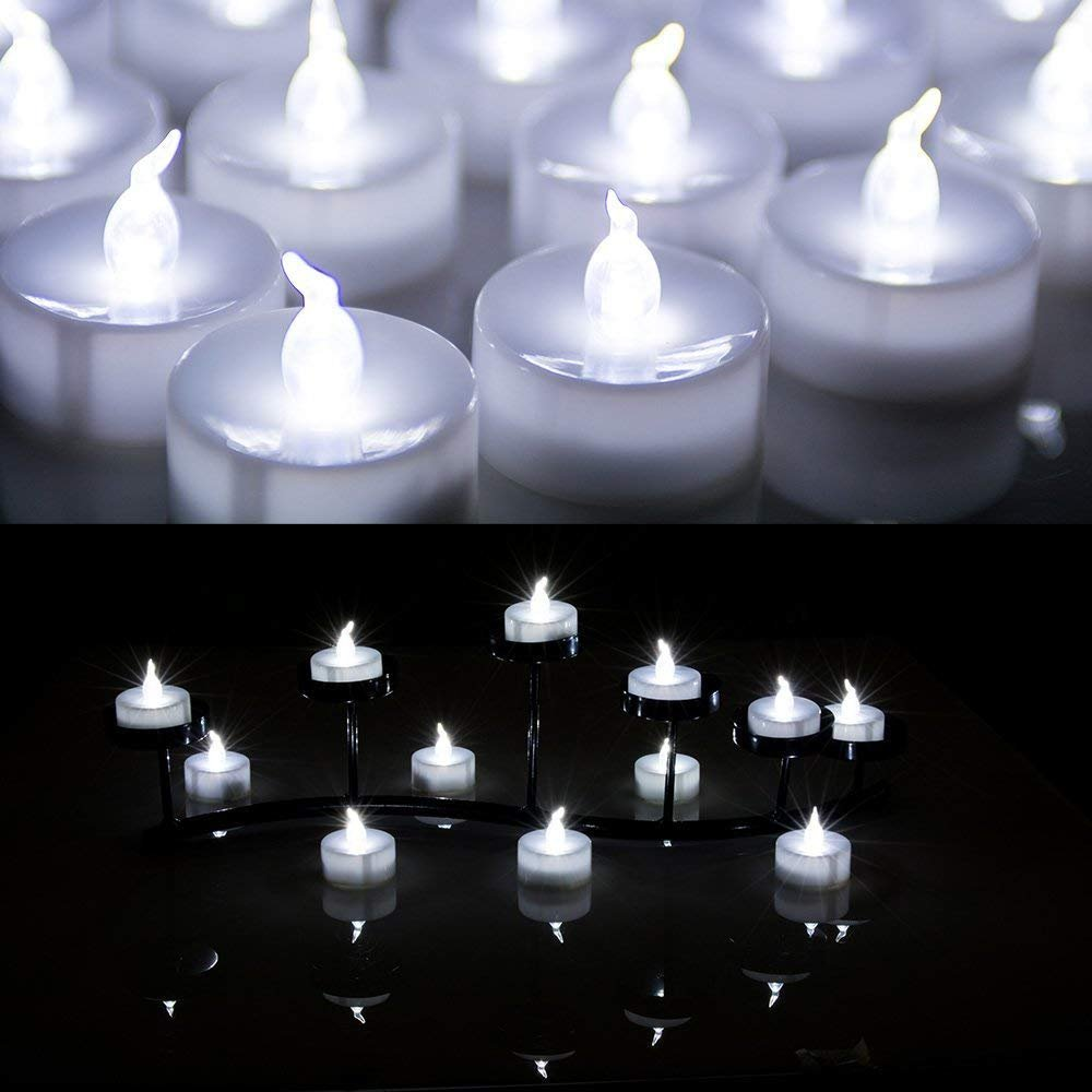White AGPtek/® 24 PCS LED Tealights Battery-Operated flameless Candles Lights For Wedding Birthday Party