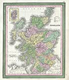 Historical 1854 Mitchell Antique Map of Scotland | 20in x 24in Fine Art Print