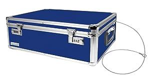 Vaultz Locking Storage Chest, 19 x 6.5 x 13.5 Inches, Blue (VZ00167)